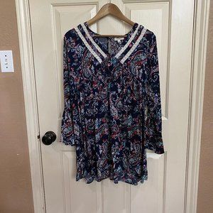 Umgee Paisley Print Dress with Bell Sleeves